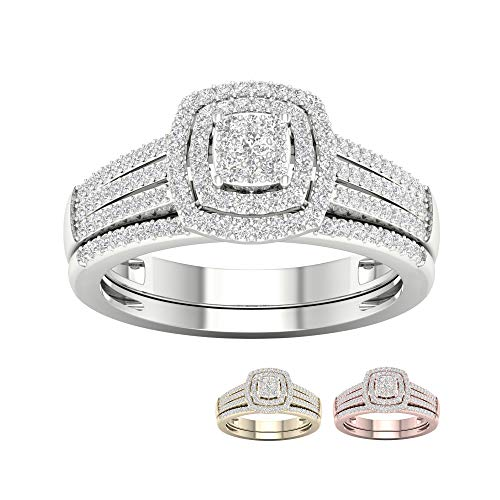 (IGI Certified 10k White Gold 3/8 Ct TDW Diamond Cluster Bridal Set (I-J, I2))