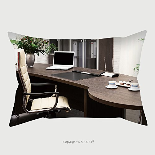 Custom Microfiber Pillowcase Protector Laptop And Flowers On The Table In A Modern Office 130053209 Pillow Case Covers Decorative price