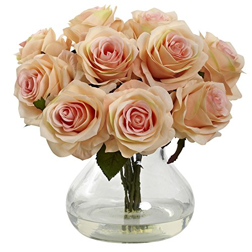nearly-natural-1367-ph-rose-arrangement-with-vase-peach