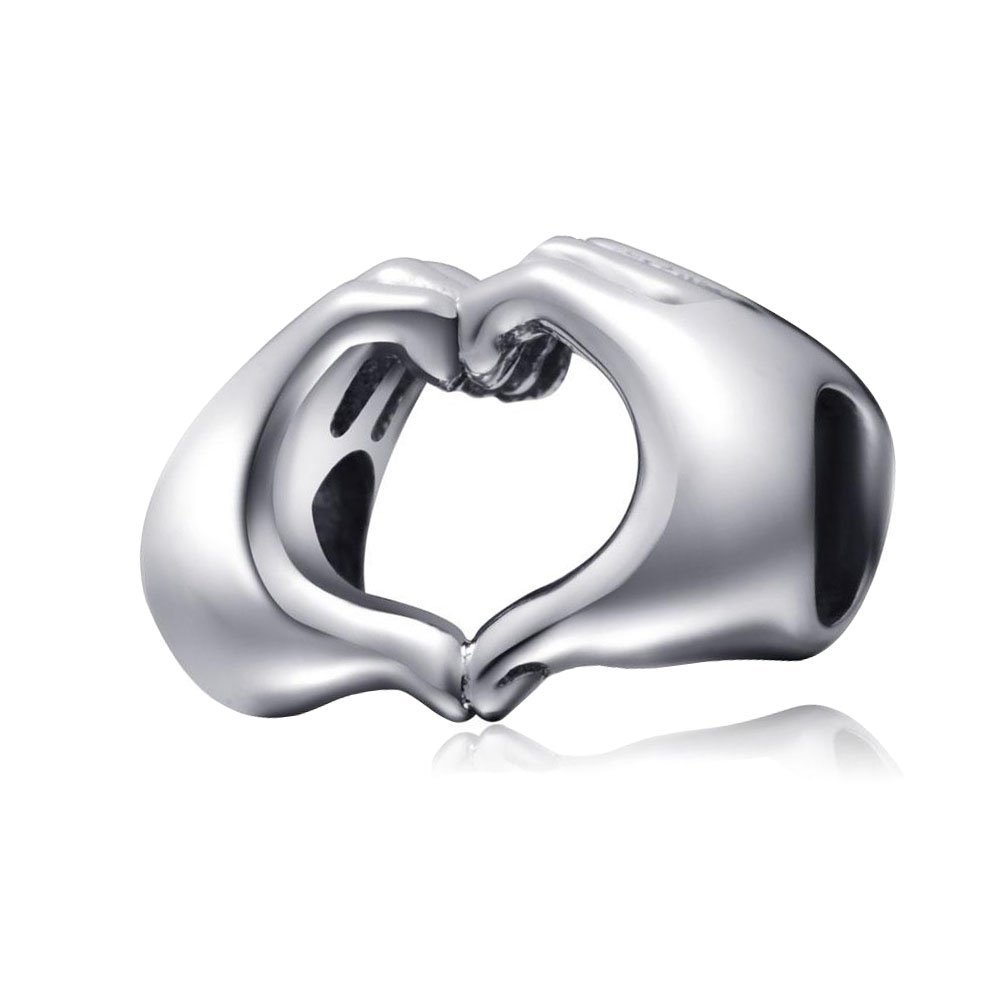 ZIYOU Bead-Fingers Love Heart In Your Hands Bead 925 Sterling Silver Charms Fit European Bracelets