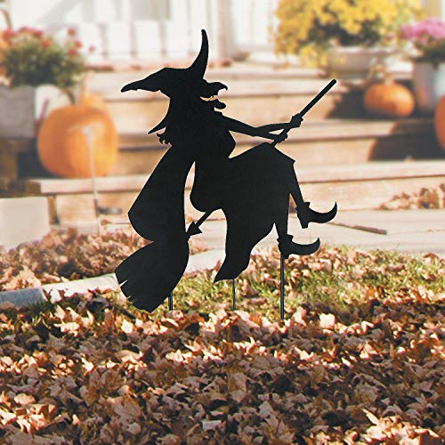 Fun Express Halloween Witch ON Broom Silhouette Metal Yard Stake]()