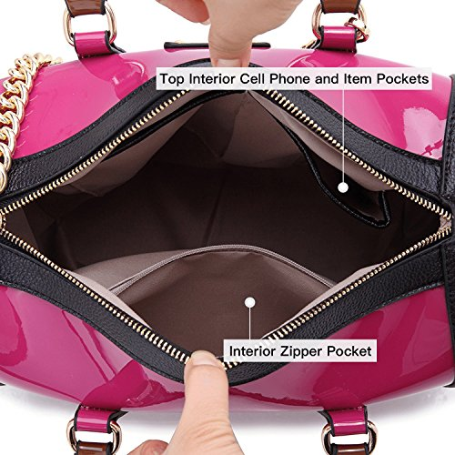Bag Patent Barrel Women Leather fuchsia for Satchel Size Faux Large Handbags Top Shiny Handle Bag Shoulder 1g8qdwq