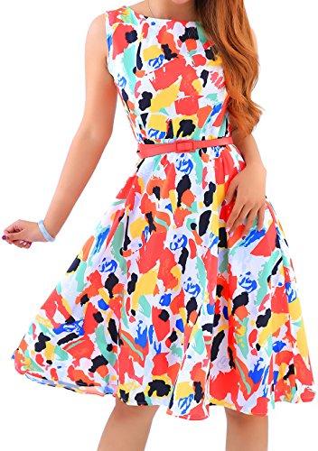 EFOFEI Womens Vintage Summer Dress Retro Printed 1960s Knee Length Dress,Multicolor,M ()