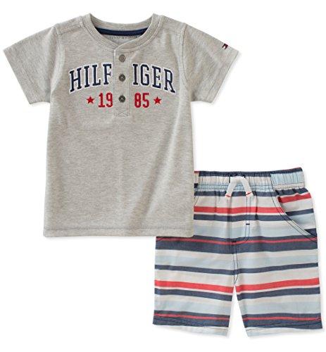 Tommy Hilfiger - Juego de 2 crepes cortos para bebé, Gray/Navy/Red, 3-6 Meses