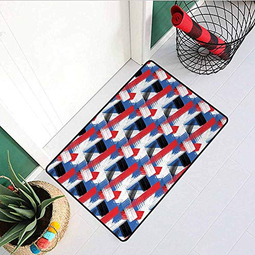 (Gloria Johnson Abstract Welcome Door mat Geometric Grunge Bold Stripes with Artistic Brushstrokes Motif Door mat is odorless and Durable W15.7 x L23.6 Inch Violet Blue White Red Black)