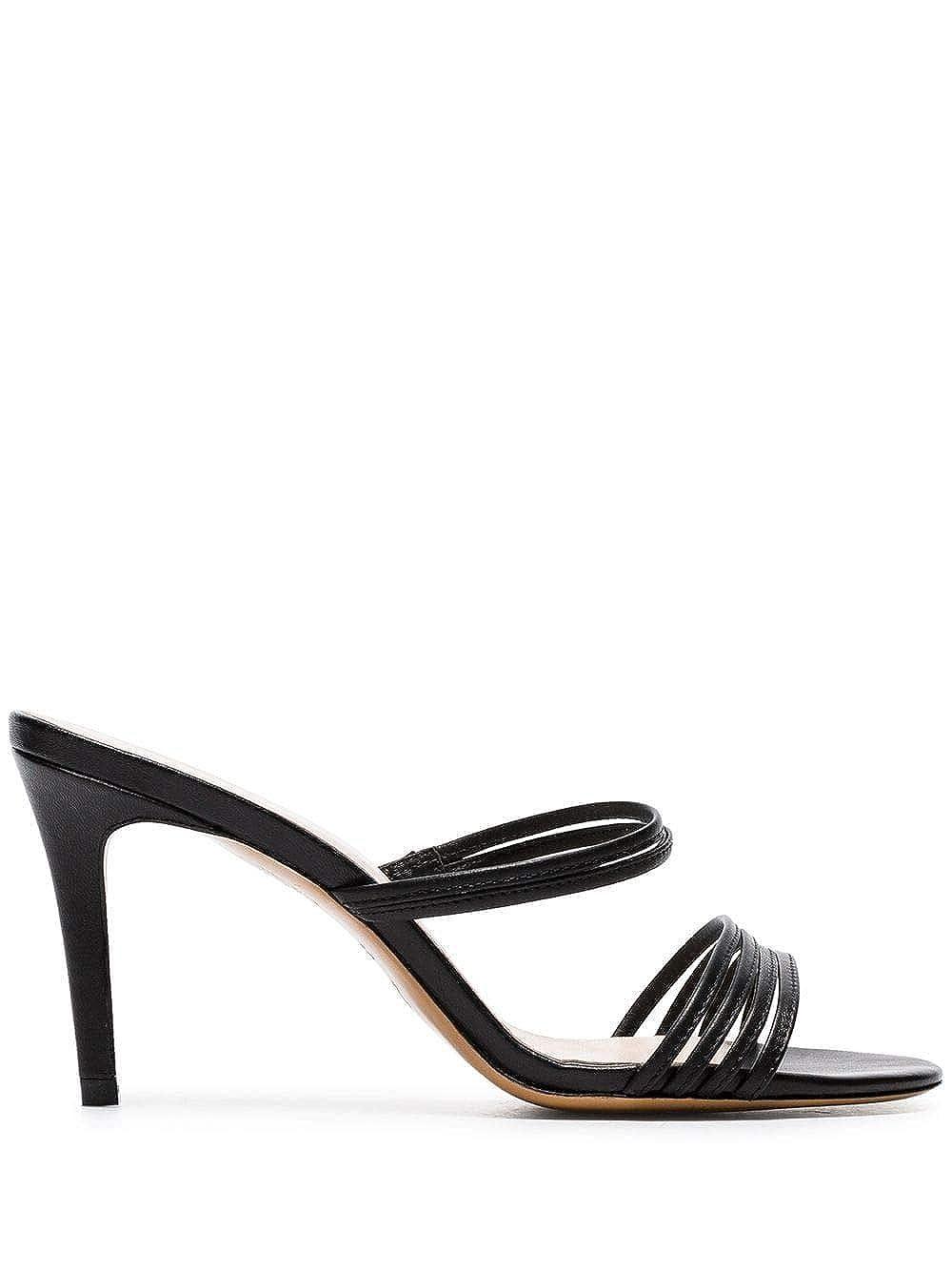 - KALDA Women's SIMONSANDALBLACK Black Leather Sandals