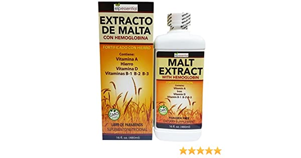 Amazon.com: Extracto de Malta Con Hemoglobina Fortificado con Hierro 16oz (450ml): Health & Personal Care