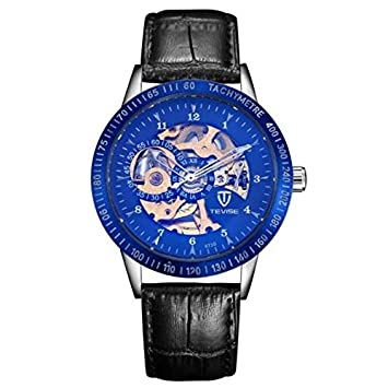 4766b30a9df Image Unavailable. Image not available for. Color  Men Watches Tevise Luxury  Carco Store Automatic Mechanical Hollow Waterproof Watch Big Dial Clock