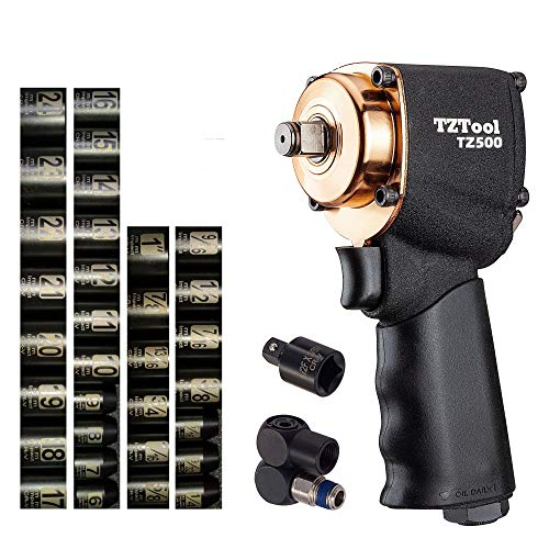 TZTool mini 1 2 impact wrench kit w 34 PC 1 2 and 3 8 Metric and Inch super short sockets and 3 8 Reducer and swivel plug