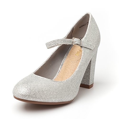 DREAM PAIRS Women's ROSALLI Silver Glitter High Chunky Heel Pump Shoes - 10 B(M) US - Glitter Platform Mary Jane