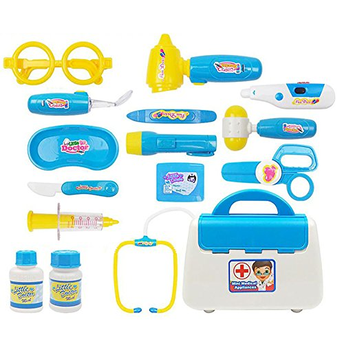15Pcs Children Simulation Doctor Appliance Kit Medicine?Cabinet Pretend Play - Mall Sales White Oaks