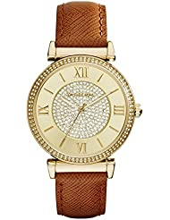 Michael Kors Watches Catlin Leather Watch (Brown)