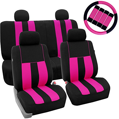 FH Group Stylish Cloth (Airbag & Split Ready) Full Set Car Seat Covers Combo-FH2033 Steering Wheel Cover & Seat Belt pads, Pink/Black- Fit Most Car, Truck, Suv, or (Honda Civic Seat Belt)
