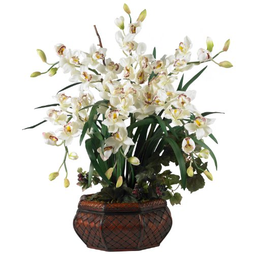 Large Cymbidium Silk Flowers in White 1199-WH