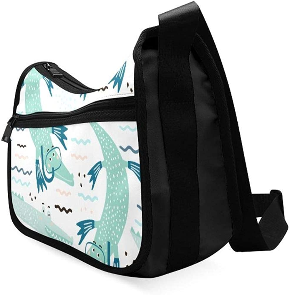Cute Alligator And Tropical Plants Messenger Bag Crossbody Bag Large Durable Shoulder School Or Business Bag Oxford Fabric For Mens Womens