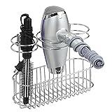 mDesign Bathroom Wall Mount Hair Styling Tools Organizer for Straightener, Hair Dryer, Brushes – Chrome