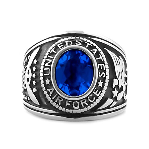 Langley: Mens 5.0ct Air Force Simulated Sapphire Crystal Military Signet Ring Steel, 3152 sz 12.0