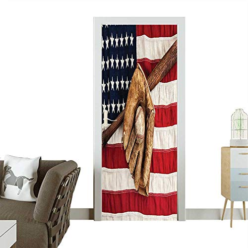 Homesonne 3D Photo Door Murals Vintage Baseball League Equipment with USA American Flag Fielding Sports Theme Brown Red Easy to Clean and applyW17.1 x H78.7 INCH ()