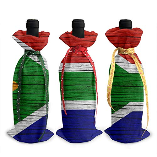 - NBteach South Africa Wooden Texture South African Flag 3pcs Christmas Xmas Red Wine Glass Bottle Wraps Cover Bag Decorations Ornaments Theme Tasting Charms Accessories Gifts Set