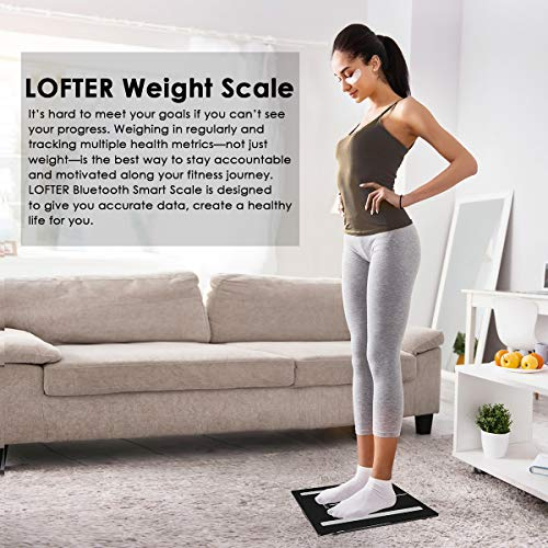 Bluetooth Body Fat Scale, LOFTER Smart Digital Weight Scale Wireless Bathroom Scale 12 Body Composition Analyzer with iOS & Android APP for Body Weight, Fat, Water, BMI, BMR, Muscle Mass, 396lbs Black by LOFTER (Image #7)