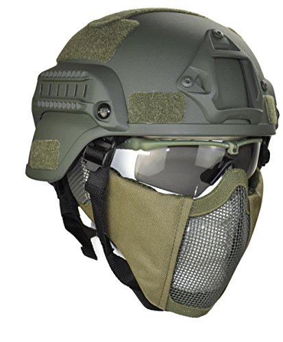 Jadedragon MICH 2000 Style ACH Tactical Helmet with Protect Ear Foldable Double Straps Half Face Mesh Mask & Goggle (Green) ()