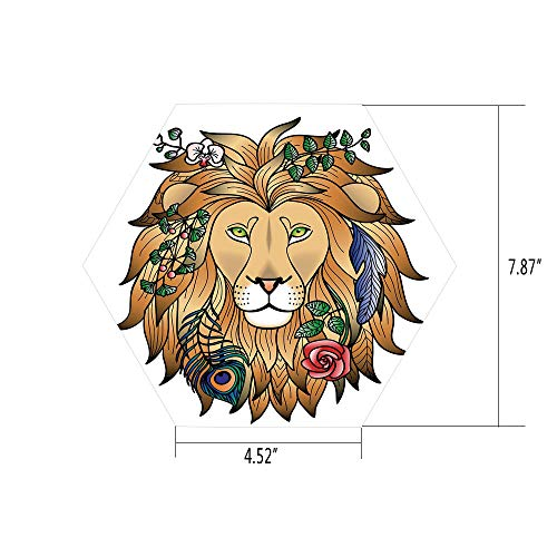 Sticker,Mural Decal,Zodiac Decor,Horoscope Figure Portrait Head of Lion with Flowers on The Fur King and Power Sign,Brown,for Home Decor 4.52x7.87 10 Pcs/Set ()