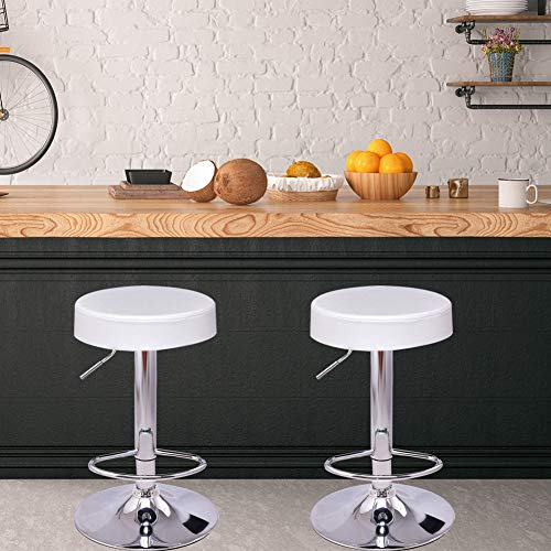 GentleShower Bar Stool 360 Degree Swivel Set of 2 Round Seat Height Adjustable Stool Chair Hydraulic Spa Salon Stools with Footrest for Lab Medical Office Kitchen etc White