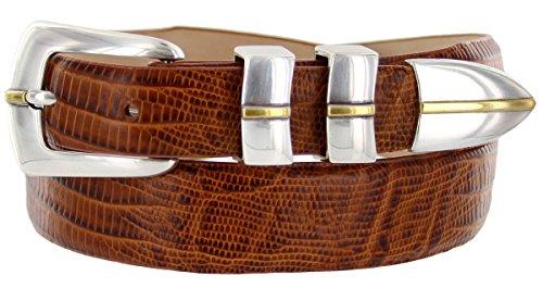 (Marin Gold Genuine Italian Calfskin Leather Designer Dress Golf Belt for Men (Lizard Tan,42))