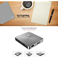 SABRE DLP Pico / Mini Projector with 120 minute battery life, 854x480 Resolution, 150 Lumens, HDMI, Wifi Connectivity, 30,000 hours LED life, Grey