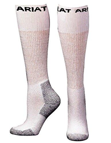 (Ariat Men's Over The Calf 3 Pack Socks,White,L)