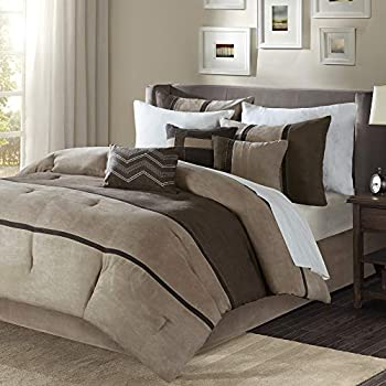 Madison Park Palisades King Size Bed Comforter Set Bed In A Bag - Brown, Taupe , Pieced Stripe - 7 Pieces Bedding Sets - Micro Suede Bedroom Comforters