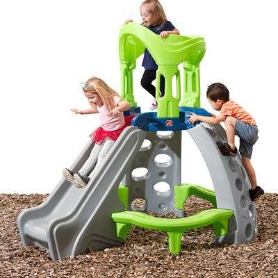 Step2 Castle Top Mountain Climber Slides for Kids with Built-in Bench and Two Climbing Walls, Multicolor