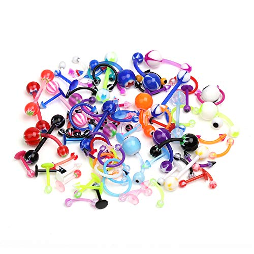 (CrazyPiercing Wholesale 80 Flexible Lip Tongue Eyebrow Bar Rings Barbell Piercing Body Jewelry Multicolor)