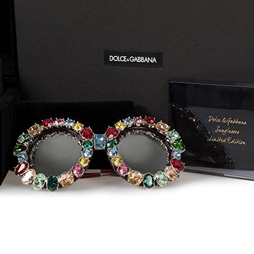 Dolce & Gabbana Limited Edition Round Sunglasses DG4291B 18296G 54 | Multicolored Swarovski Crystals Frame | Silver - Bedazzled Glasses