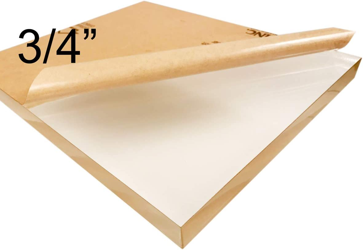 "3//4 0.708/"" 18 mm Thick Cast Sheet Nominal Size AZM Clear Acrylic 12x12 Plexiglass Sheet"