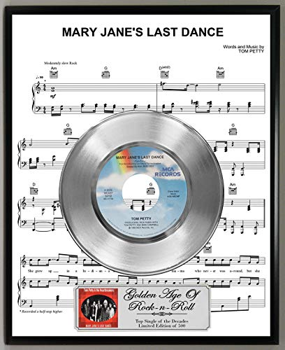 Dance 45 Rpm Records - G.A.R.R. Tom Petty Mary Jane's Last Dance Limited Edition 45 RPM Platinum Record Sheet Music Poster Art Display with Original Reproduction Sleeve Art & Record Label