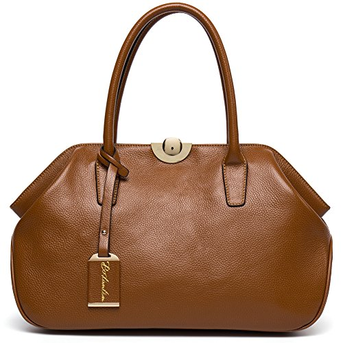 BOSTANTEN Women's Leather Handbags Tote Top-handle Purse Shoulder Bags On Sale Brown by BOSTANTEN