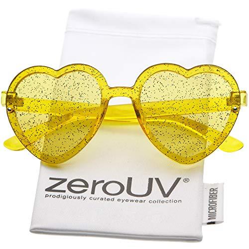 zeroUV - Translucent Rimless Heart Sunglasses For Women Glitter Lens 52mm (Yellow)