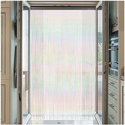 Cortina para puerta exterior protectora contra insectos como moscas y mosquitos - Cortinas panel de cuerdas mosquitera como separador o divisor - Multicolor de 210x90cm (PVC, Negro y transparente): Amazon.es: Jardín