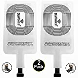 DaVoice Wireless Charging Adapter Receiver for iPhone (2 pack) Compatible with Apple iPhone 7/7 Plus 6s/6s+ 6/6+ 5/5s/5c/ SE for Wireless Charger Charging – Works with a Thin Case and any Charging Pad