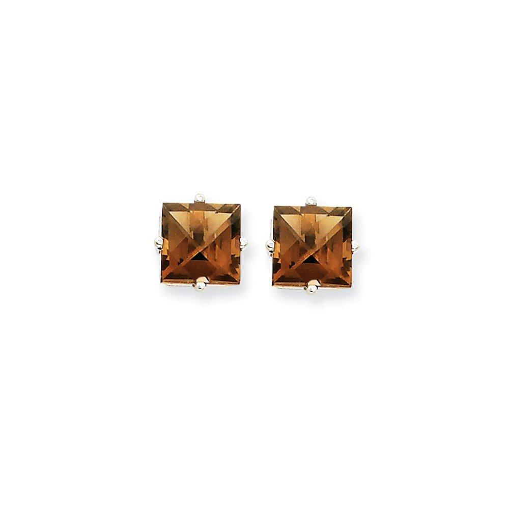 14k White Gold 7mm Square Smoky Quartz Earrings Gem Wt- 3.1ct by Jewelry Pot