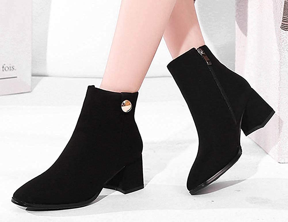 Womens Simple Mid Chunky Heel Dress Inside Zip Up Square Toe Ankle Booties with Zipper