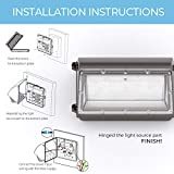 HYPERLITE LED Wall Pack Light 50W 6,500LM (130lm/w) 5000K with Dusk to Dawn Photocell UL/DLC Certified Suitable for Wet Location Bright Outdoor Wall Pack for Parking Lot Alleyways Warehouse