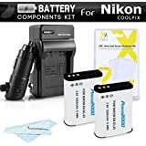 2 Pack Battery And Charger Kit For Nikon COOLPIX P900, P610, P600, B700 Digital Camera  Includes 2 Extended Replacement (2200Mah) EN-EL23 Batteries + Ac/Dc Rapid Travel Charger + Screen Protectors