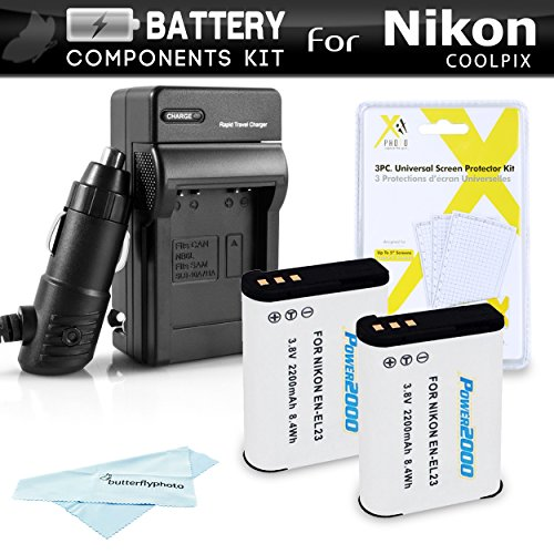 2 Pack Battery And Charger Kit For Nikon COOLPIX P900, P610, P600, B700 Digital Camera  Includes 2 Extended Replacement (2200Mah) EN-EL23 Batteries + Ac/Dc Rapid Travel Charger + Screen Protectors ()