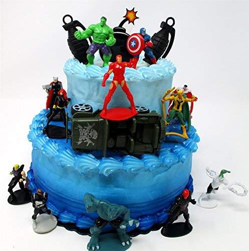 Super Hero AVENGERS CREW Birthday Cake Topper Set with Aveng