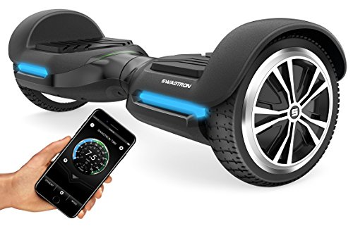 Swagtron Swagboard Vibe T580 App-Enabled Bluetooth Hoverboard w/Speaker Smart Self-Balancing Wheel – Available on iPhone & Android (Black)