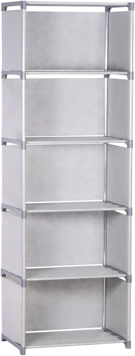 NiceAI Storage Rack Bookshelf Home Furniture Storage Bookcase for Kids Cabinet Shelves for Office Sturdy 5 Cubes Gray