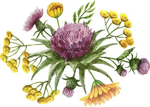 Beautiful Mum - Beautiful Simple Flower Floral Bunch Arrangement Watercolor Art Vinyl Sticker, Mum Purple