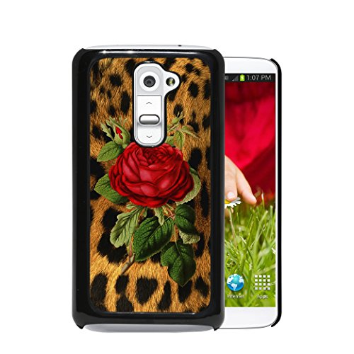 LG G2 - Leopard Animal Cheetah Print Skin Red Vintage Rose (1st Generation) LG G2 Hard Plastic Phone Case - NOT COMPATIBLE WITH VERIZON CARRIER